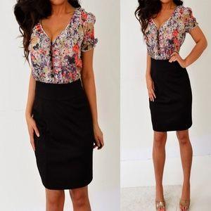 2b Bebe Black Orange Purple Mini Dress L Large